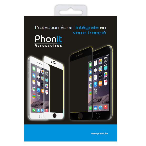 apple iphone 6 protection cran int grale en verre tremp blanc phonit univertel. Black Bedroom Furniture Sets. Home Design Ideas