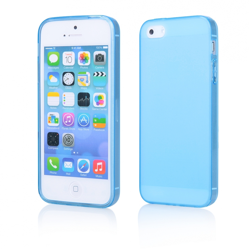 Apple iphone 5 5s housse souple transparente bleu - Housse iphone 5s ...