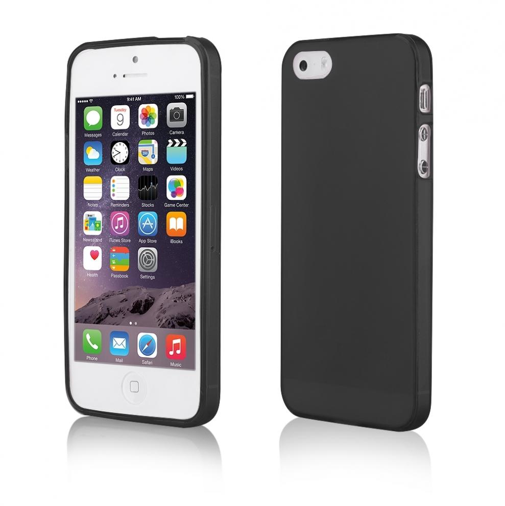 Apple iphone 5 5s housse souple transparente noir for Housse iphone 5s