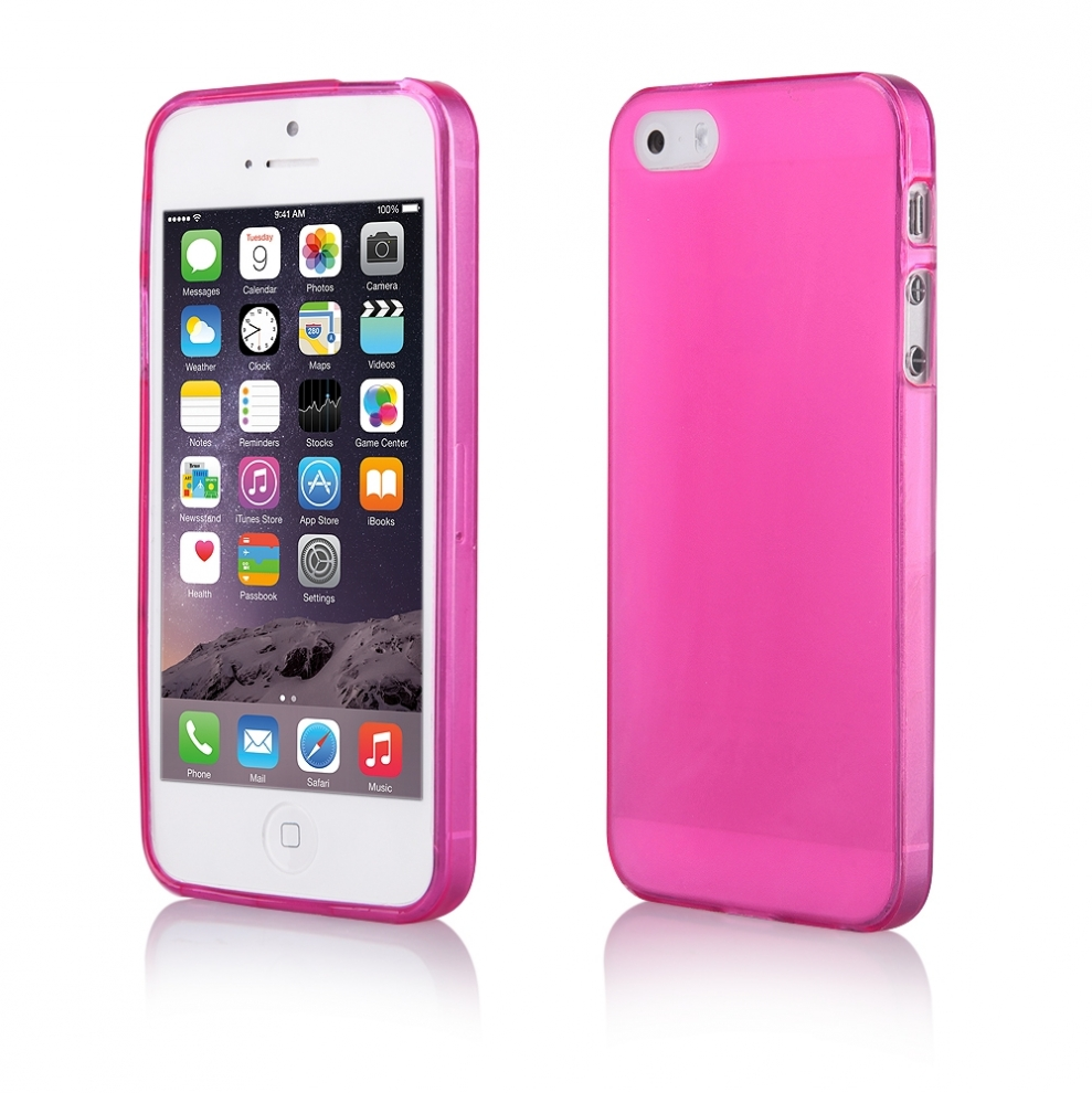 Apple iphone 5 5s housse souple transparente rose for Housse iphone 5s